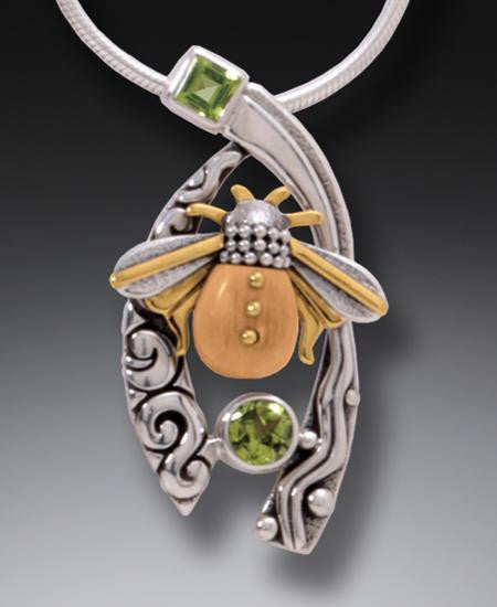 """Bee with Peridot"" Ancient Fossilized Walrus Tusk Ivory and Peridot Silver Pendant"