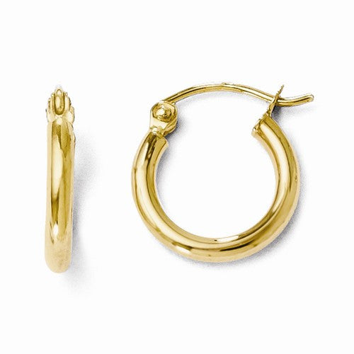 Leslies 14kt Polished Yellow Gold Hoop Earrings -  2mm Thickness