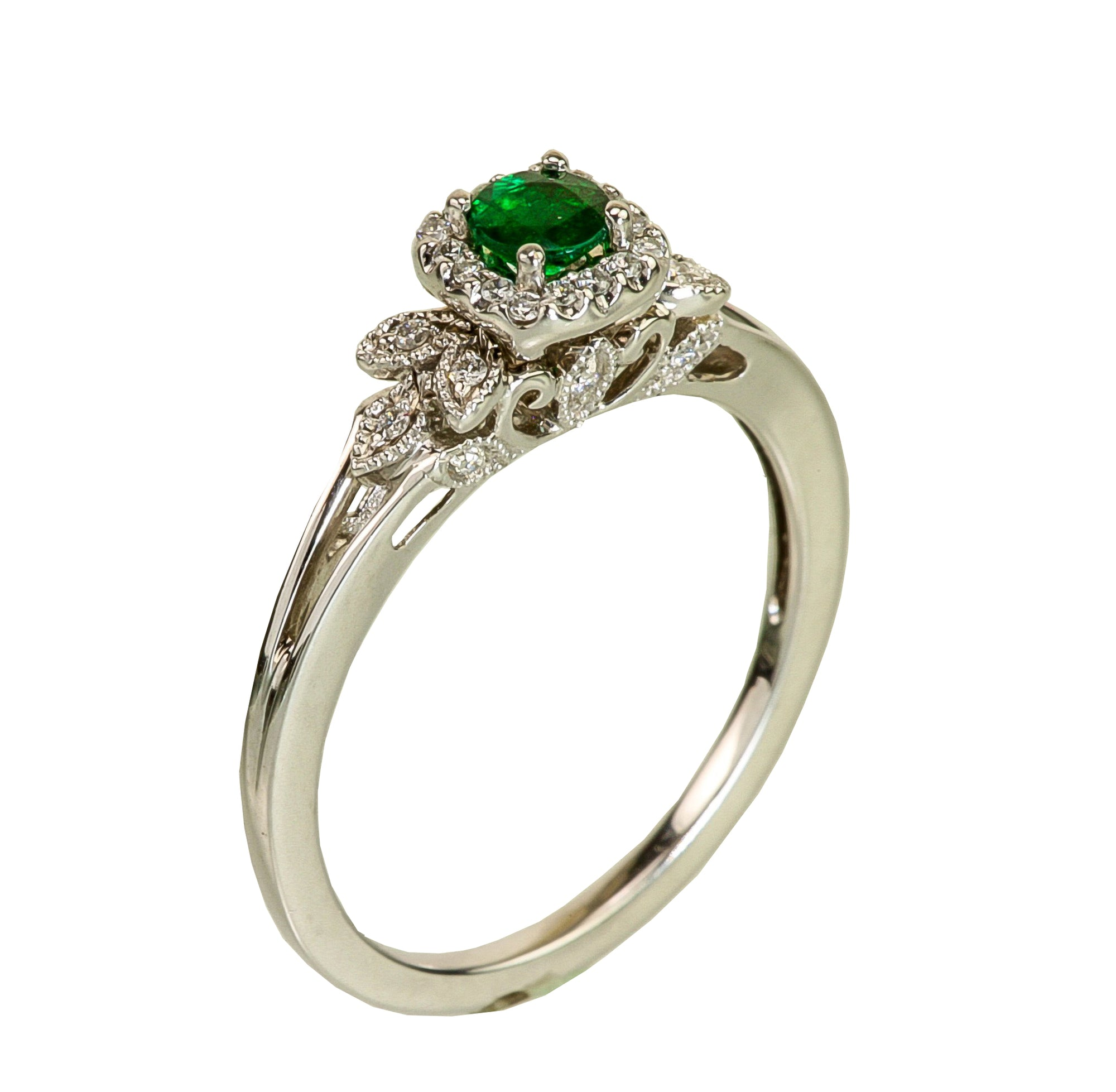 Emerald & Diamond 14kt White Gold Ring