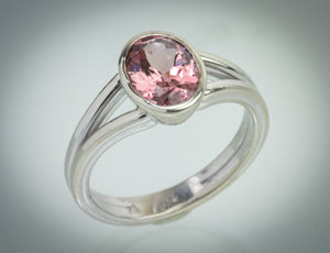 Lotus Garnet White Gold Ring