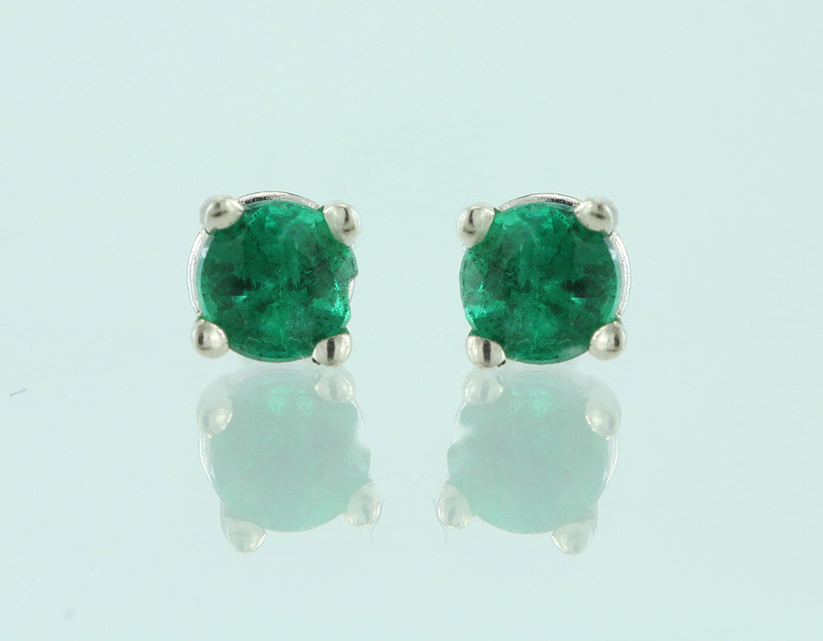 3mm Emerald 14KT White Gold Earrings