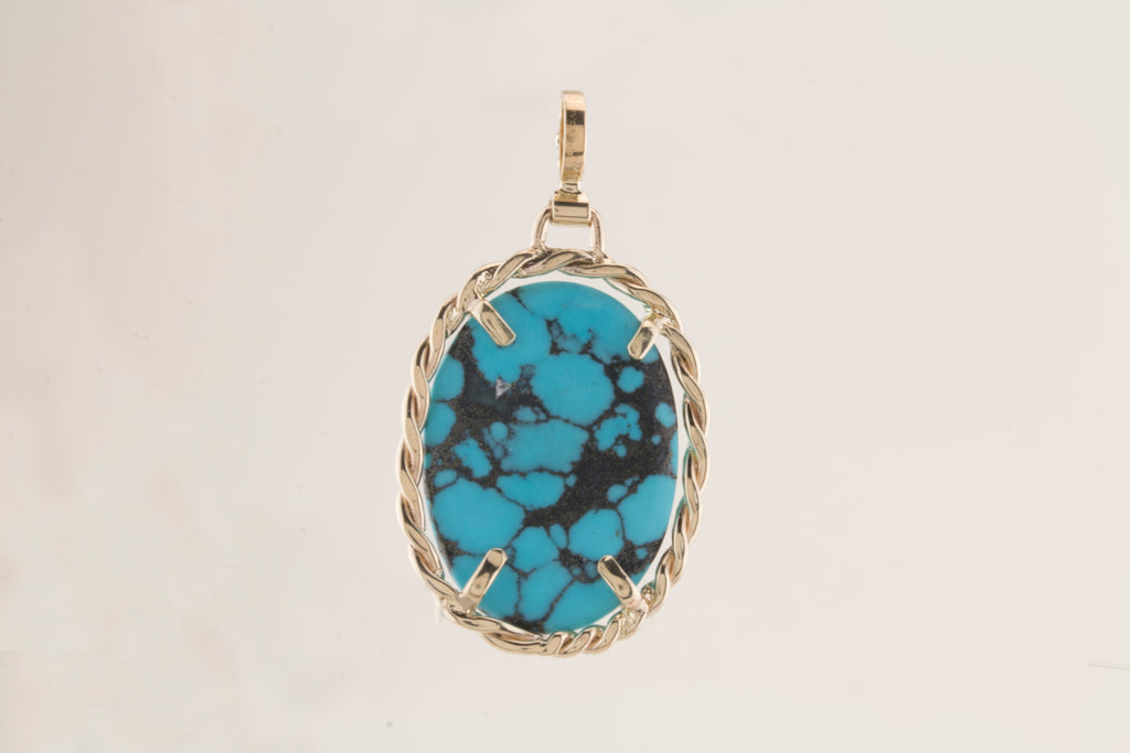 Arizona Turquoise 14kt Yellow Gold Pendant