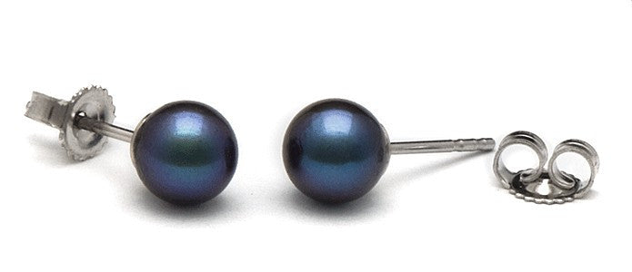 6.0-6.5 mm AA+ Black Akoya Pearl Stud Earrings