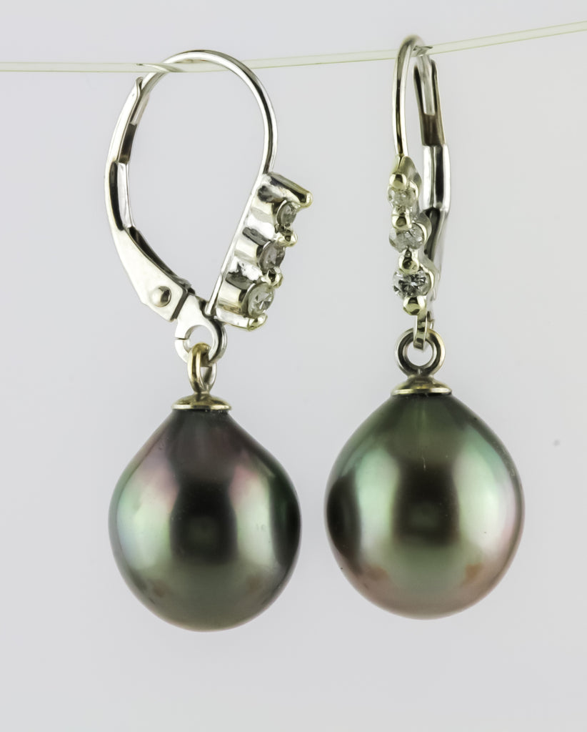 Cook Island South Sea Pearl and Diamond Earring