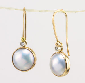 Mabé Pearl & Diamond Gold Earrings