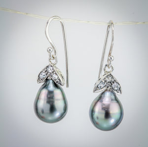 Cook Island Pearl & Antique Diamond White gold Earring