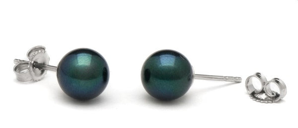 7-7.5 mm AA+ Black Akoya Pearl Stud Earrings