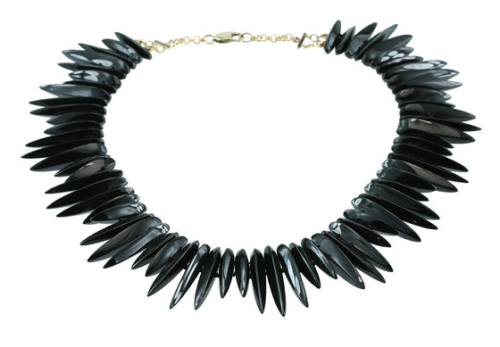 Black Jade Collar Necklace 14kt Gold
