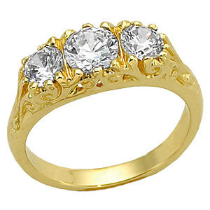 14K White 5.5mm Round Center 3-Stone Anniversary Ring Mounting 12441
