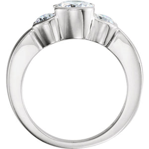 14K White 6.5mm Round 3 Stone Engagement Ring Mounting 120411