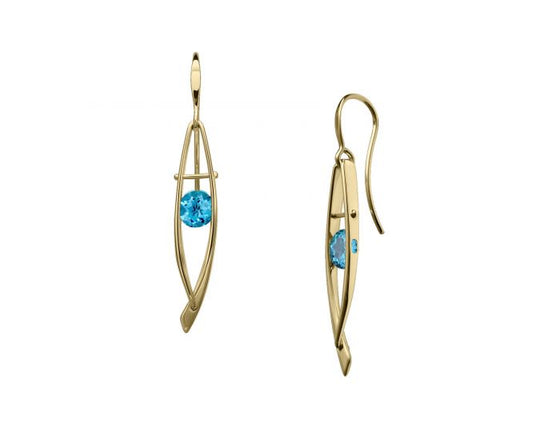 Ed Levin 14kt Gold Ascend Gemstone Earrings