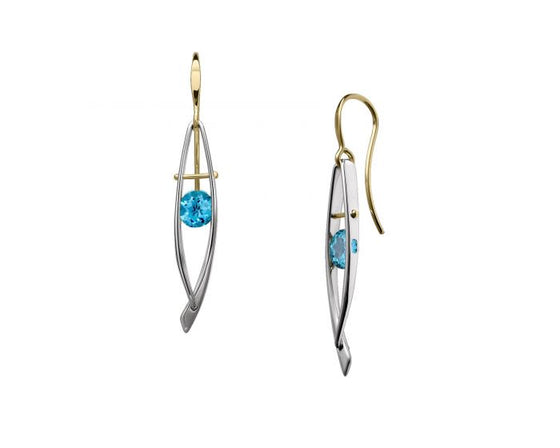 Ed Levin Sterling Silver and 14kt Gold Ascend Gemstone Earrings