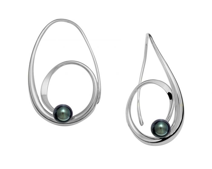Ed Levin Black Pearl Sterling Silver Bindu Earrings