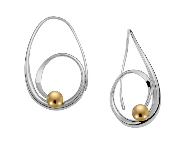 Ed Levin Sterling Silver Bindu Earrings With 14kt Gold Ball