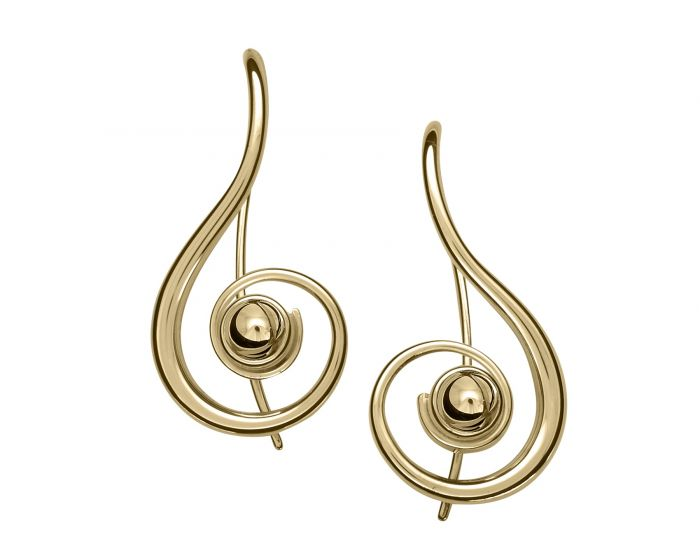 Ed Levin 14kt Gold Lyrical Earrings With Gold Ball