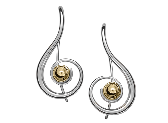 Ed Levin Lyrical Silver and 14kt Gold Ball Earrings