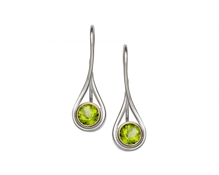 Silver and 14kt Gold Desire Gemstone Earrings