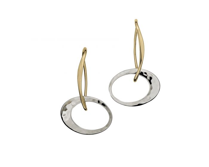 Ed Levin Sterling Silver and 14kt Gold Petite Elliptical Earrings