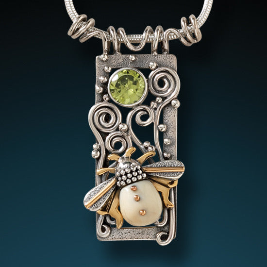 """Bee Free"" Ancient Fossilized Mammoth Ivory Tusk 14kt Gold Fill and Peridot Silver Pendant"
