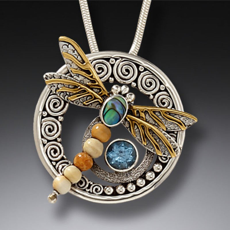"""Wings of Gold"" Ancient Fossilized Mammoth Tusk Ivory, Blue Topaz, Paua, 14kt Gold Fill and Sterling Silver Pendant"