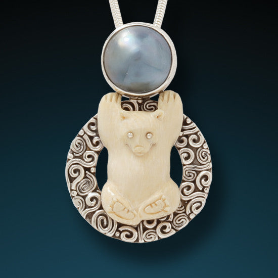 """Bear"" Ancient Fossilized Mammoth Ivory Tusk and , Mabe Pearl Silver Pendant"