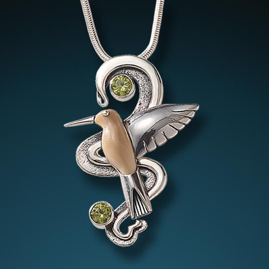 """Hummingbird Flight"" Ancient Fossilized Walrus Tusk Ivory and Peridot Silver Pendant"