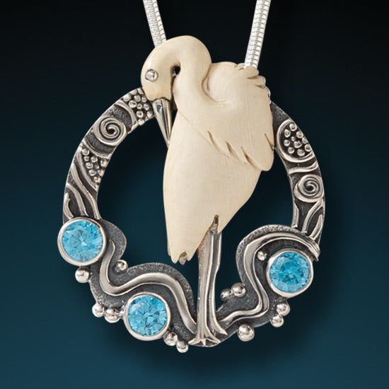 """Egret"" Ancient Fossilized Mammoth Ivory Tusk and Blue Topaz Silver Pendant"