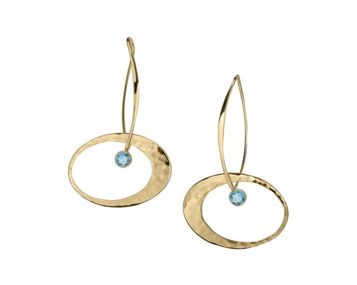 Ed Levin 14kt Gold Elliptical Elegance Gemstone Earrings