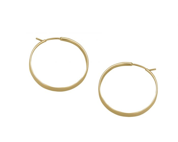 Ed Levin 14kt Gold Classic Forged Hoop Earrings