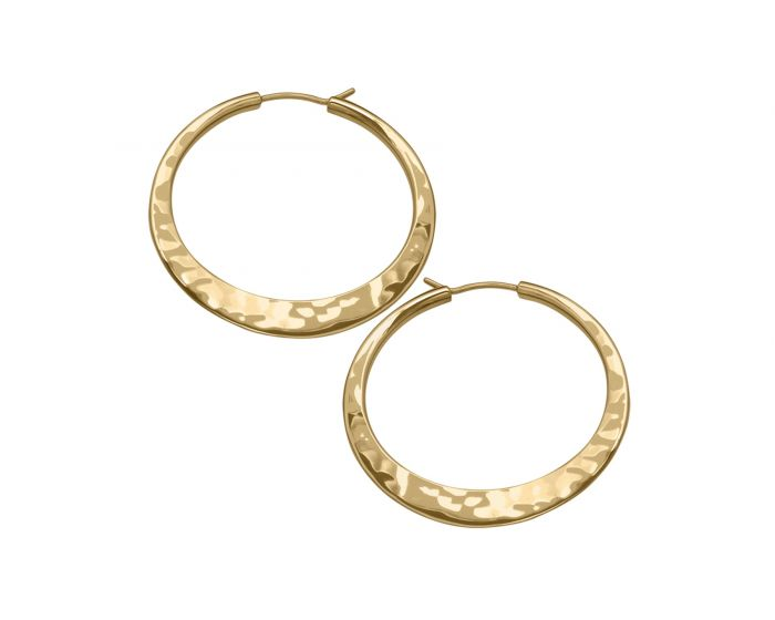 Ed Levin 14kt Gold Hand Hammered Hoop Earrings