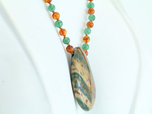 Bloodstone, Amber and Aventurine Necklace 20""