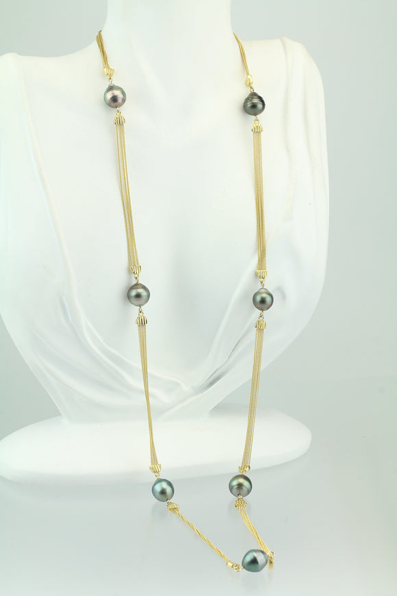 18KT Yellow Gold Cook Island Pearl 7 Station Necklace 28.5""