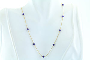 Lapis Bead 14kt Gold Necklace