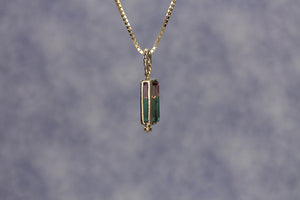 3.43 ct Bi-color Tourmaline 14kt Gold Pendant