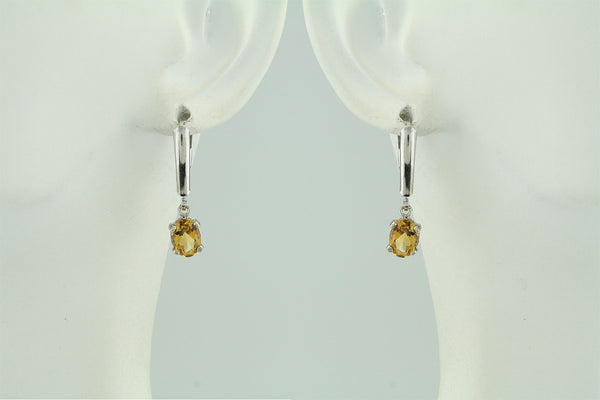 Citrine Sterling Silver Leverback Earrings