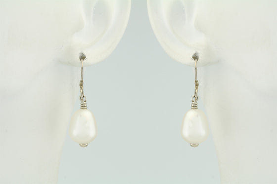 Freshwater Teardrop Pearl Sterling Silver Earrings