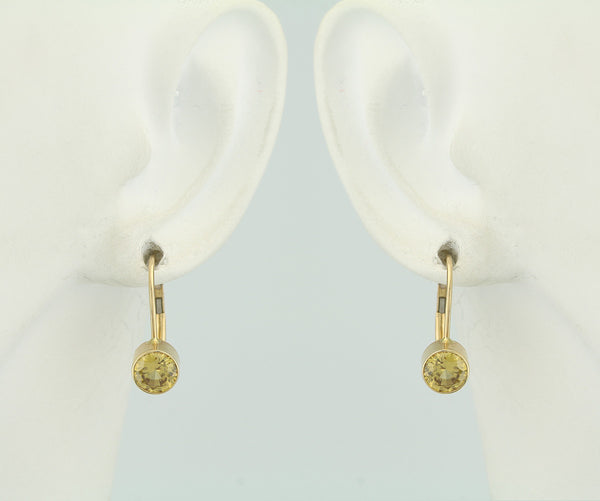 Genuine Yellow Zircon 14Kt Yellow Gold Bezel Leverback Earrings