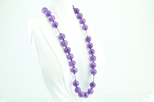 "19"" Amethyst & Crystal Quartz Beaded Necklace"