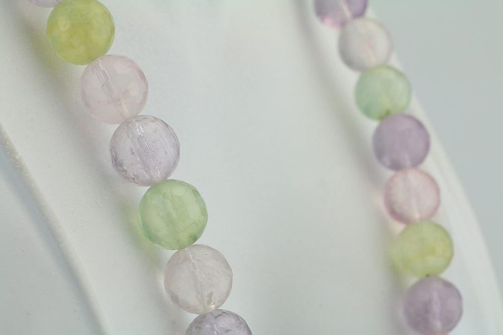 "18"" Rose Quartz, Amethyst & Prehnite Beaded Necklace"