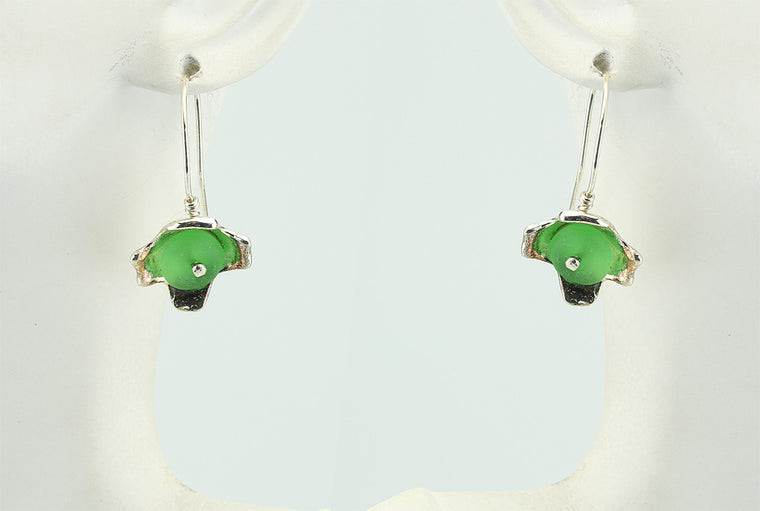 Emerald Green Sea Glass Flower Silver Earrings