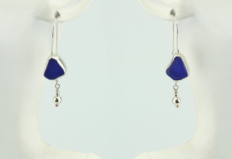 Cobalt Blue Sea Glass Dangle Earrings with Silver Ball