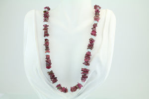 Tourmaline & Aquamarine Beaded Necklace 24""