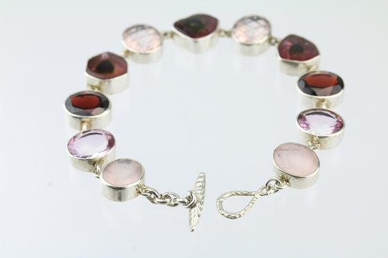 Watermelon Tourmaline, Rose Quartz, Rhodolite Garnet Sterling Bracelet
