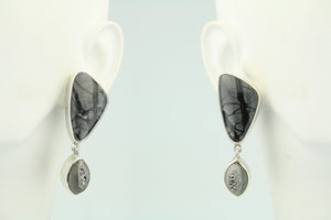 Picasso Marble and Druzy Sterling Silver Post Earrings
