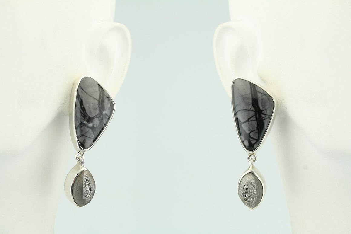 Picasso Marble and Druzy Sterling Sivler Post Earrings