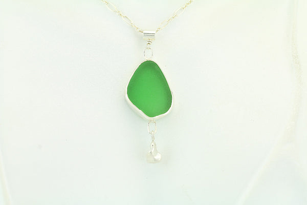 Emerald Green Sea Glass Sterling Silver Pendant