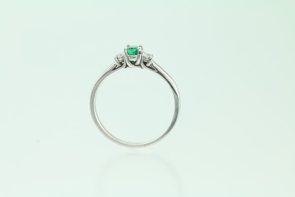 Emerald and Diamond 14kt White Gold Ring