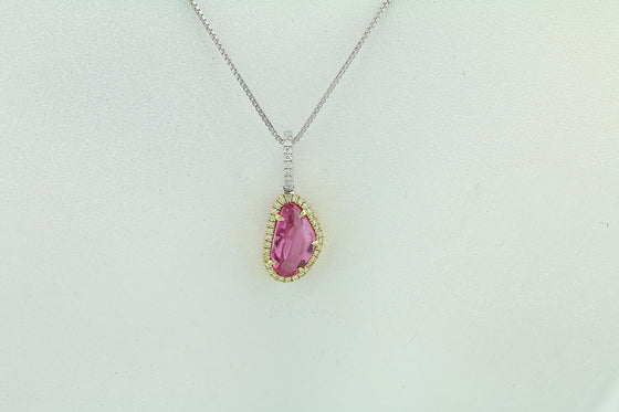 Pink Sapphire & Diamond 18kt Gold Two Tone Pendant
