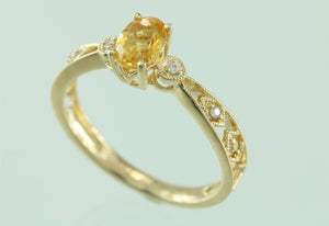 Citrine .02CT Diamond 14kt Yellow Gold Ring