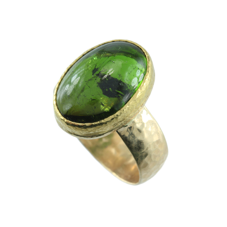 Green tourmaline 14kt & 22kt ring